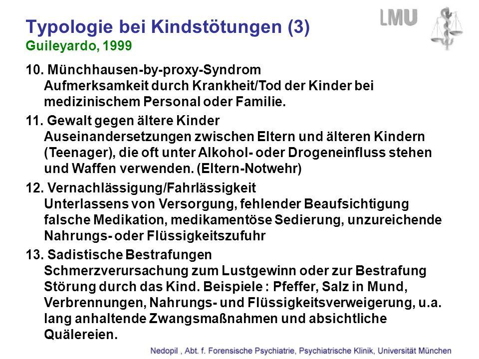 10. Münchhausen-by-proxy-Syndrom Aufmerksamkeit durch Krankheit/Tod der Kinder bei medizinischem Personal oder Familie. 11. Gewalt gegen ältere Kinder