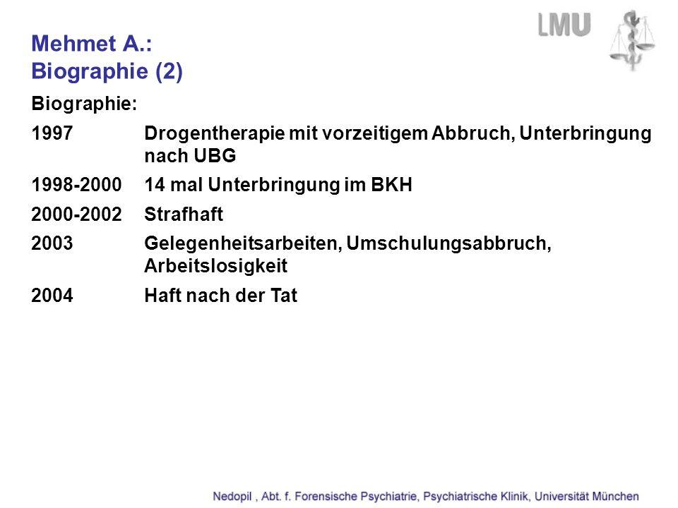 Mehmet A.: Biographie (2) Biographie: 1997Drogentherapie mit vorzeitigem Abbruch, Unterbringung nach UBG 1998-200014 mal Unterbringung im BKH 2000-2002Strafhaft 2003Gelegenheitsarbeiten, Umschulungsabbruch, Arbeitslosigkeit 2004Haft nach der Tat