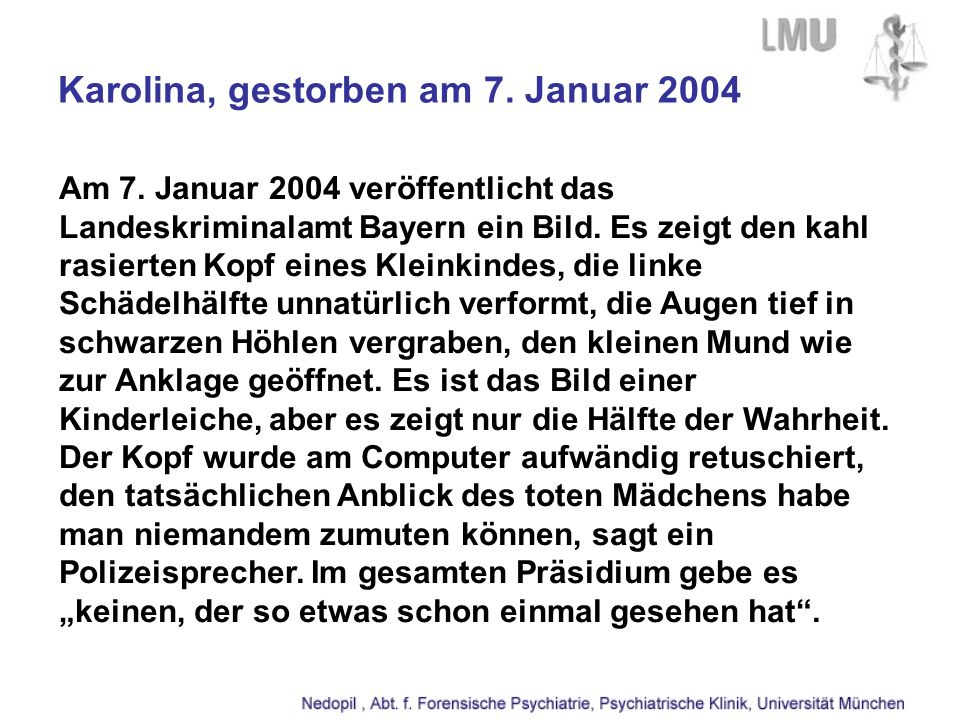 Karolina, gestorben am 7. Januar 2004
