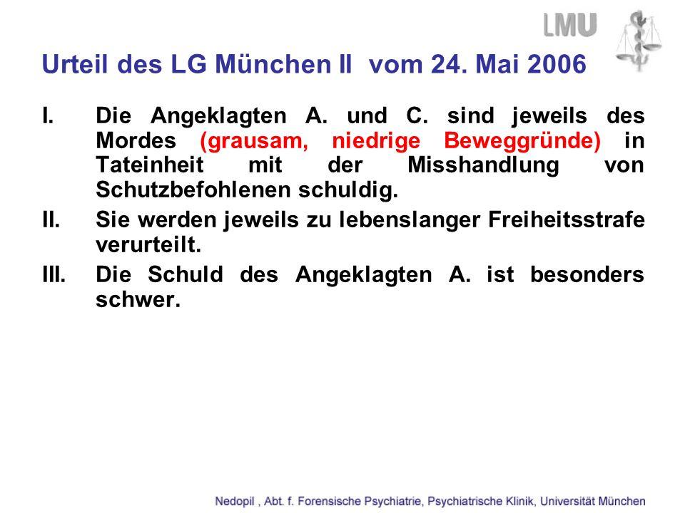 Urteil des LG München II vom 24. Mai 2006 I.Die Angeklagten A. und C. sind jeweils des Mordes (grausam, niedrige Beweggründe) in Tateinheit mit der Mi