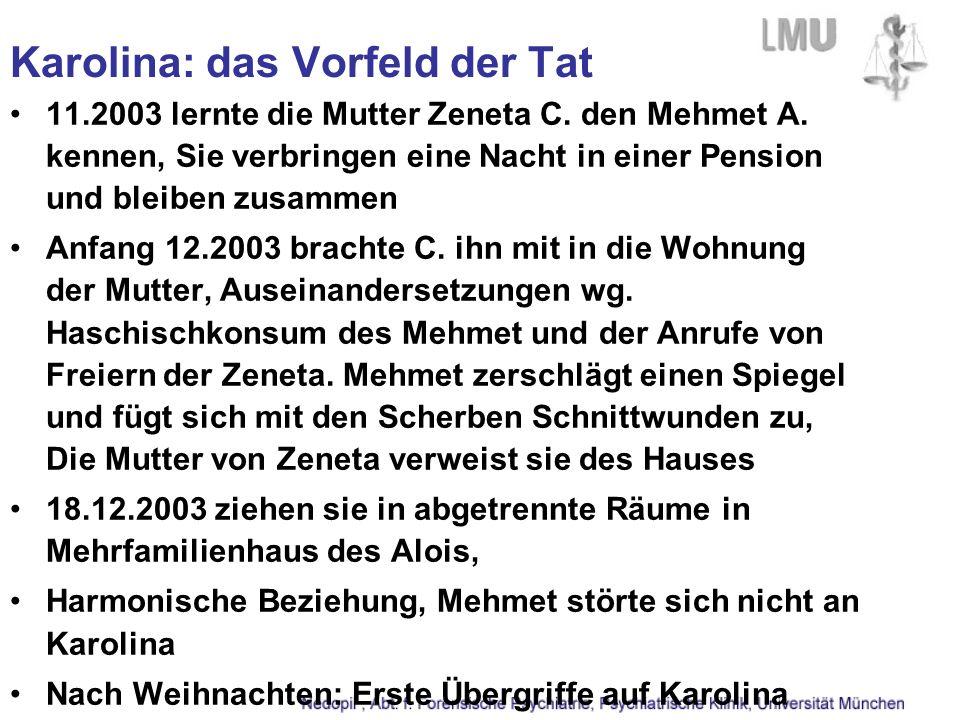 Karolina: das Vorfeld der Tat 11.2003 lernte die Mutter Zeneta C. den Mehmet A. kennen, Sie verbringen eine Nacht in einer Pension und bleiben zusamme