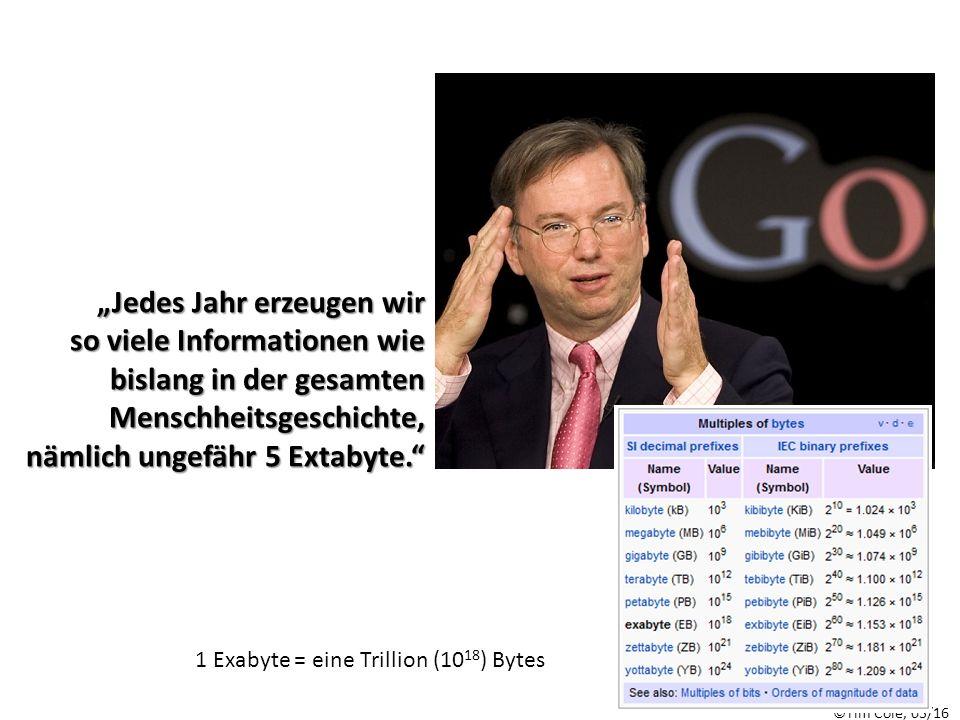 """1 Exabyte = eine Trillion (10 18 ) Bytes """"Jedes Jahr erzeugen wir so viele Informationen wie bislang in der gesamten Menschheitsgeschichte, nämlich ungefähr 5 Extabyte."""