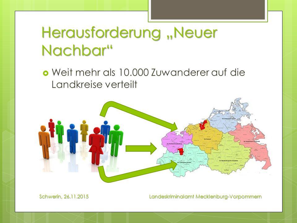 """Herausforderung """"Neuer Nachbar  Weit mehr als 10.000 Zuwanderer auf die Landkreise verteilt Schwerin, 26.11.2015 Landeskriminalamt Mecklenburg-Vorpommern"""