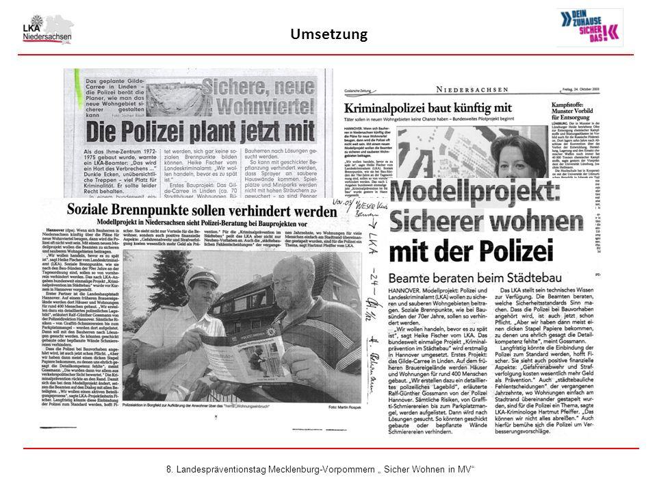 """Umsetzung 8. Landespräventionstag Mecklenburg-Vorpommern """" Sicher Wohnen in MV"""