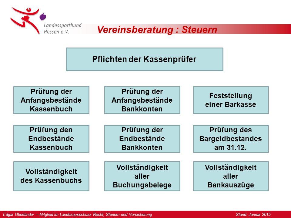Vereinsberatung : Steuern Pflichten der Kassenprüfer Prüfung der Anfangs- und Endbestände im Kassenbuch.