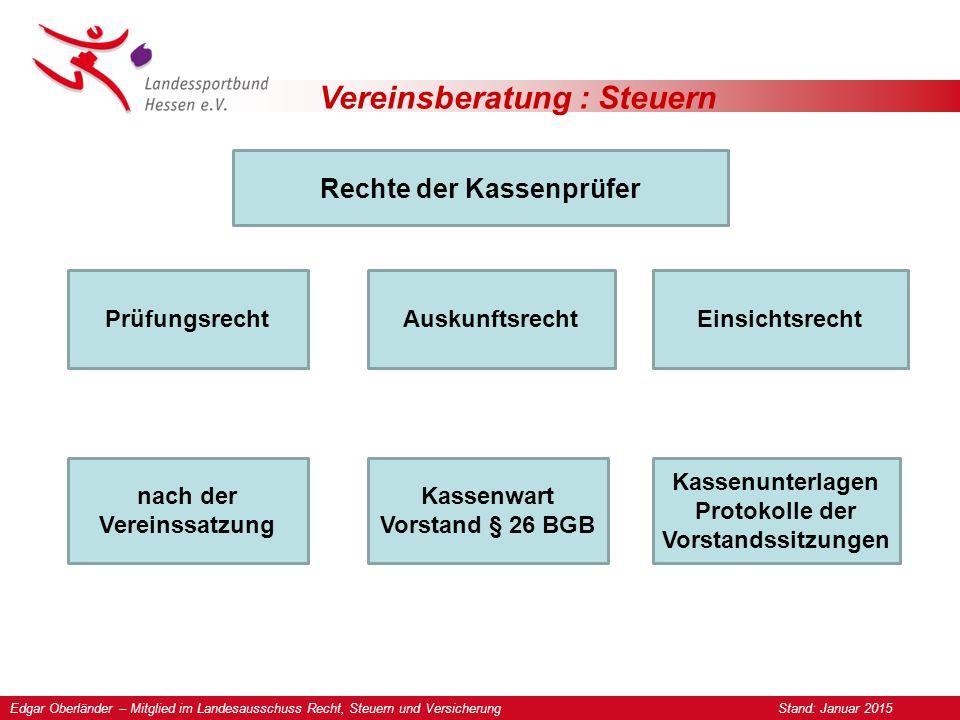 Vereinsberatung : Steuern Rechte der Kassenprüfer Prüfungsrecht nach der Vereinssatzung Auskunftsrecht vom Kassenwart und vom geschäftsführenden Vorstand nach § 26 BGB.