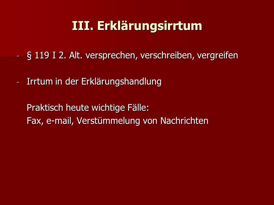III. Erklärungsirrtum - § 119 I 2. Alt.