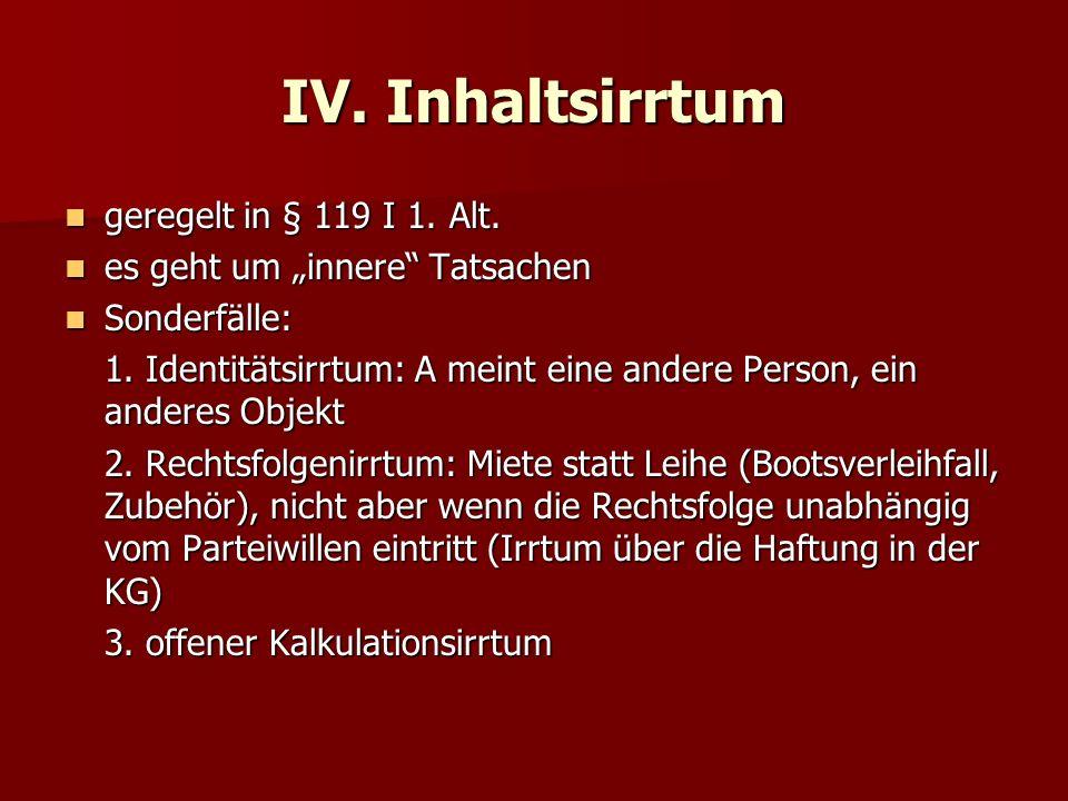 IV.Inhaltsirrtum geregelt in § 119 I 1. Alt. geregelt in § 119 I 1.