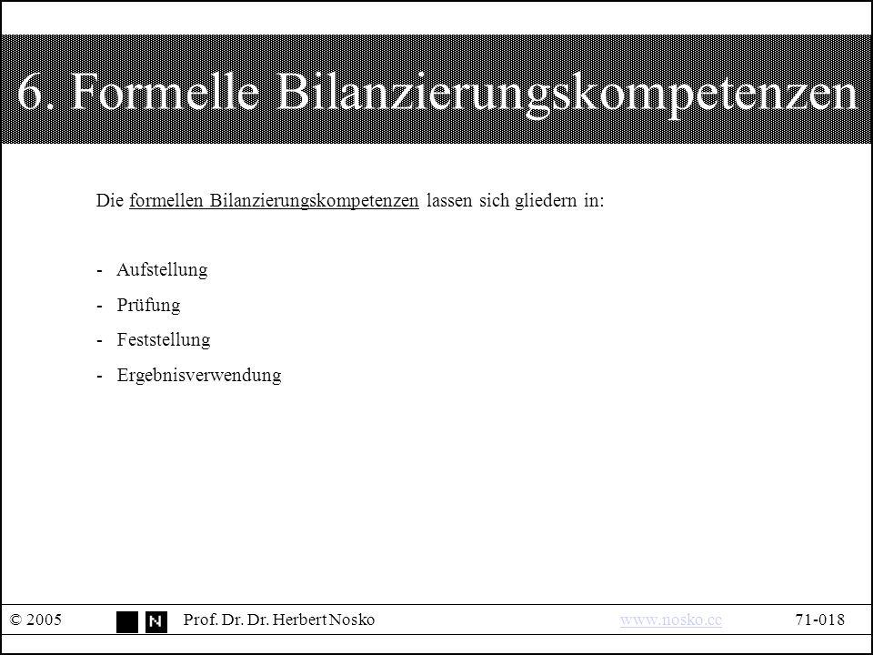 6. Formelle Bilanzierungskompetenzen © 2005Prof. Dr.