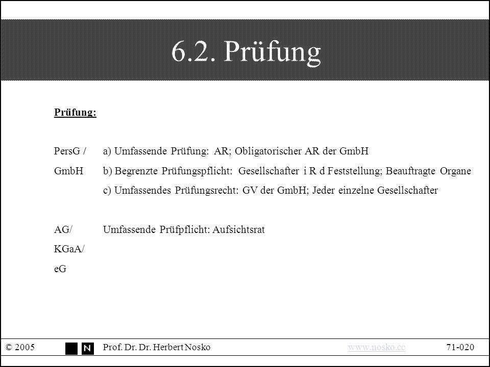 6.2. Prüfung © 2005Prof. Dr. Dr.