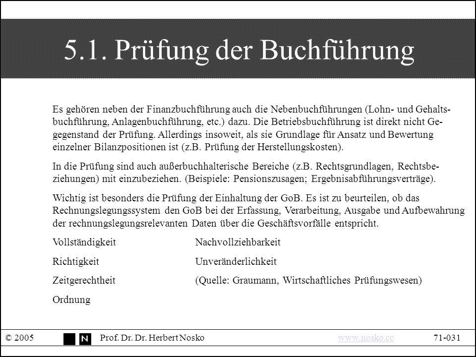 5.1. Prüfung der Buchführung © 2005Prof. Dr. Dr.