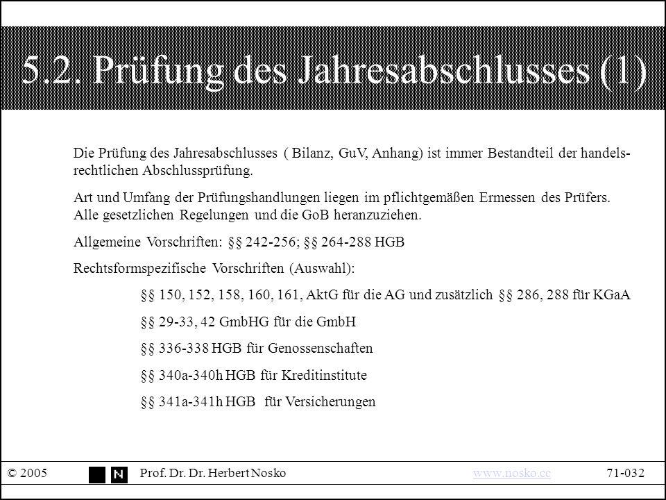 5.2. Prüfung des Jahresabschlusses (1) © 2005Prof.