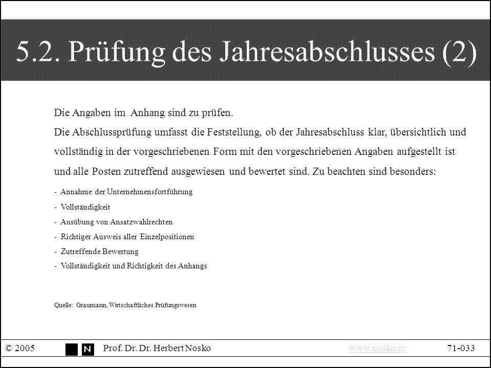 5.2. Prüfung des Jahresabschlusses (2) © 2005Prof.