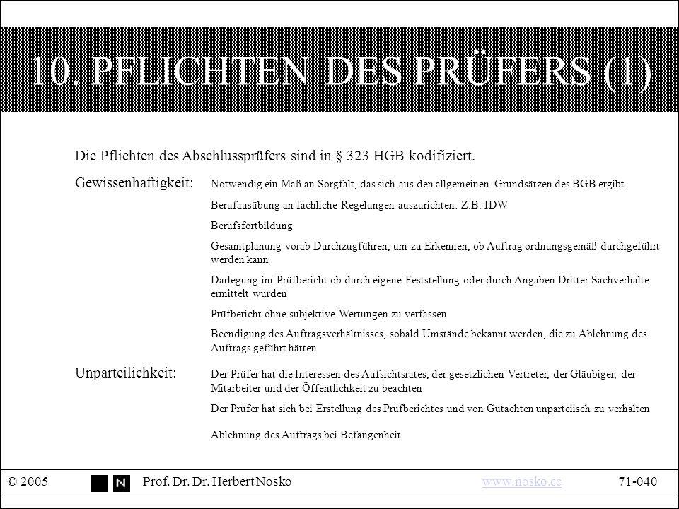 10. PFLICHTEN DES PRÜFERS (1) © 2005Prof. Dr. Dr.
