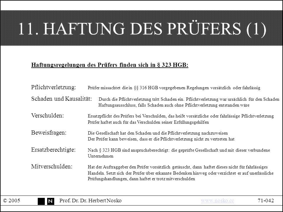11. HAFTUNG DES PRÜFERS (1) © 2005Prof. Dr. Dr.