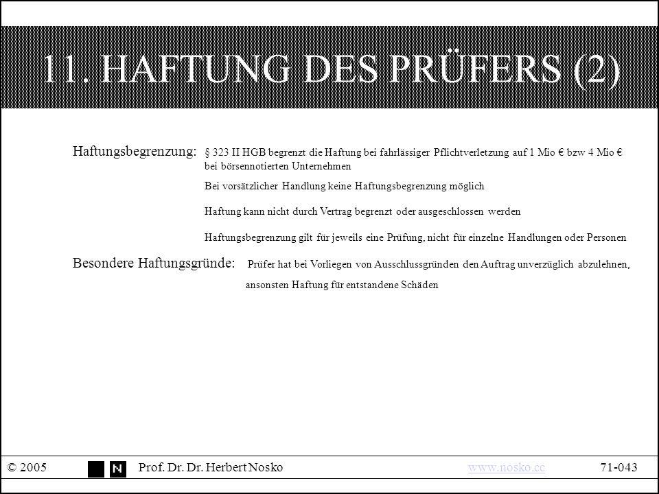 11. HAFTUNG DES PRÜFERS (2) © 2005Prof. Dr. Dr.
