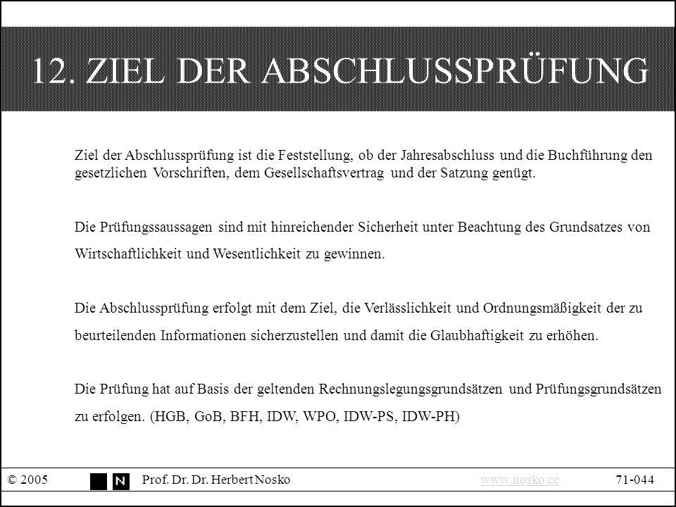 12. ZIEL DER ABSCHLUSSPRÜFUNG © 2005Prof. Dr. Dr.