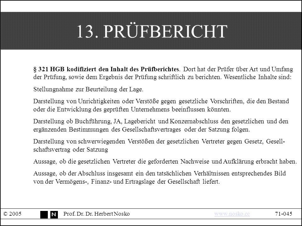13. PRÜFBERICHT © 2005Prof. Dr. Dr.
