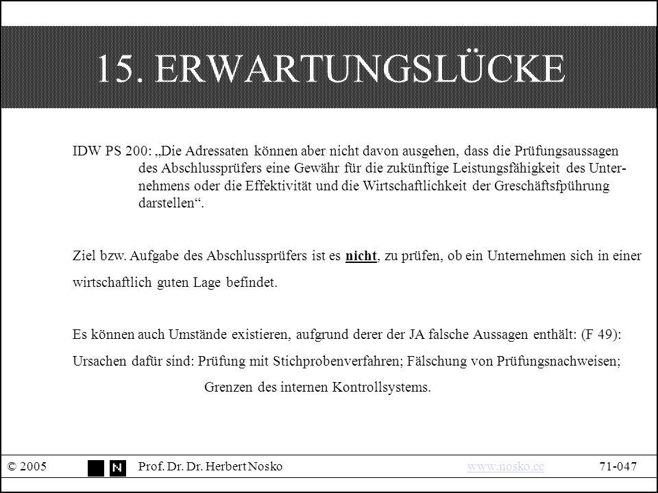15. ERWARTUNGSLÜCKE © 2005Prof. Dr. Dr.