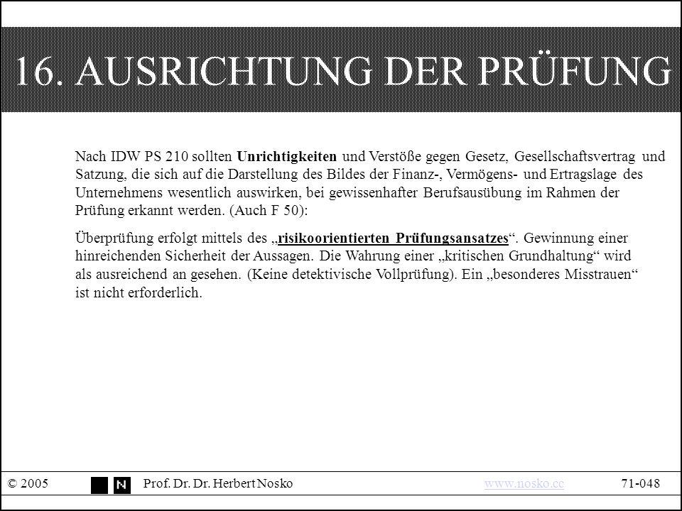 16. AUSRICHTUNG DER PRÜFUNG © 2005Prof. Dr. Dr.