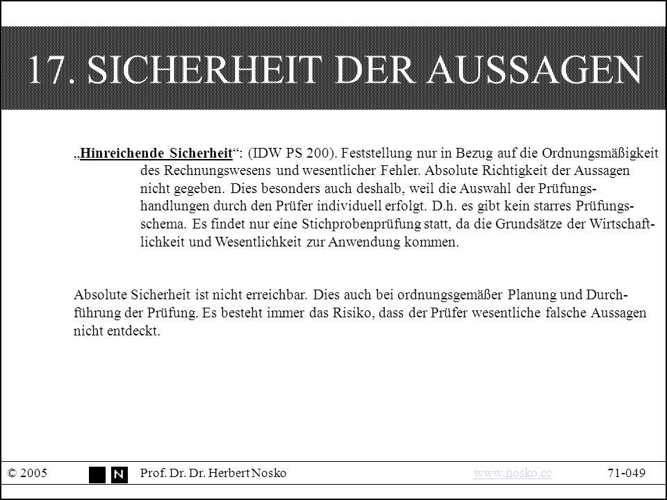 17. SICHERHEIT DER AUSSAGEN © 2005Prof. Dr. Dr.