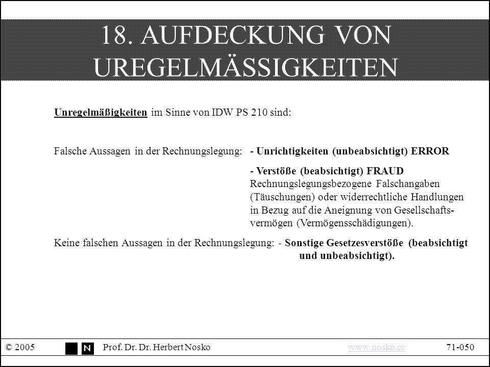 18. AUFDECKUNG VON UREGELMÄSSIGKEITEN © 2005Prof.
