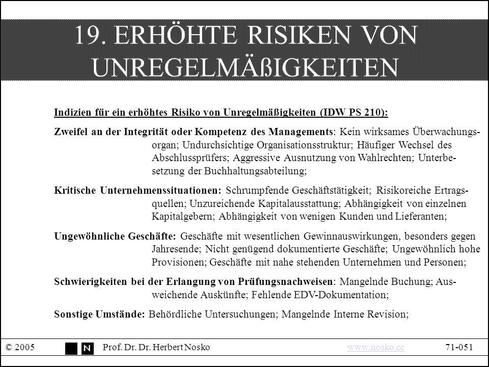 19. ERHÖHTE RISIKEN VON UNREGELMÄßIGKEITEN © 2005Prof.