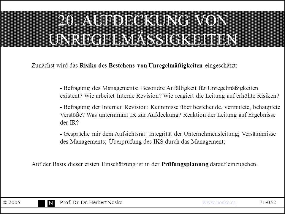 20. AUFDECKUNG VON UNREGELMÄSSIGKEITEN © 2005Prof.