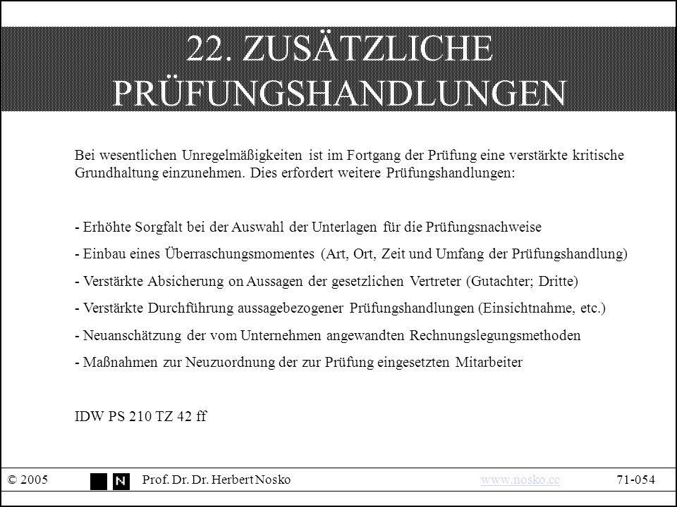 22. ZUSÄTZLICHE PRÜFUNGSHANDLUNGEN © 2005Prof. Dr.