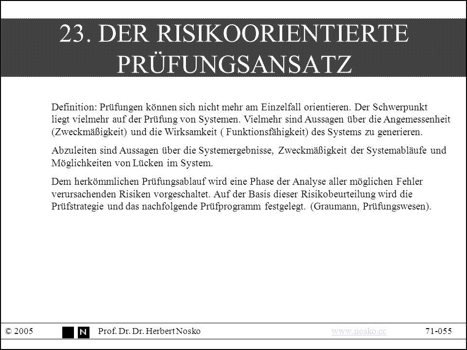 23. DER RISIKOORIENTIERTE PRÜFUNGSANSATZ © 2005Prof.