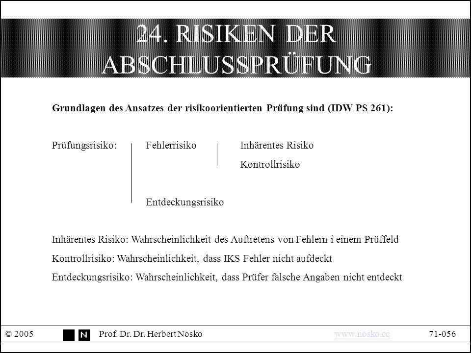 24. RISIKEN DER ABSCHLUSSPRÜFUNG © 2005Prof. Dr.
