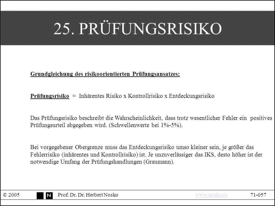 25. PRÜFUNGSRISIKO © 2005Prof. Dr. Dr.