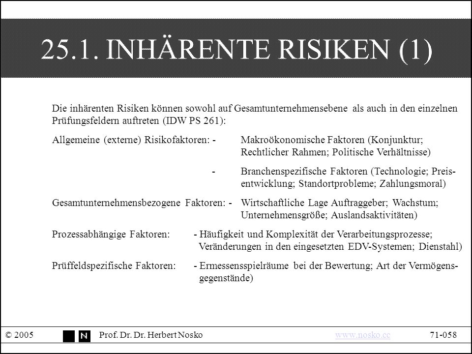 25.1. INHÄRENTE RISIKEN (1) © 2005Prof. Dr. Dr.