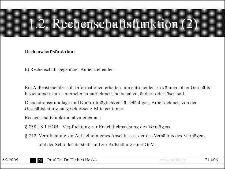 1.3.Kapitalerhaltungsfunktion © 2005Prof. Dr. Dr.