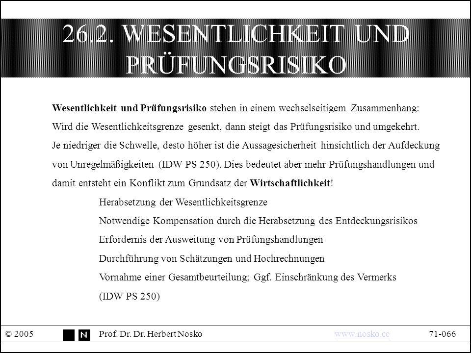 26.2. WESENTLICHKEIT UND PRÜFUNGSRISIKO © 2005Prof.