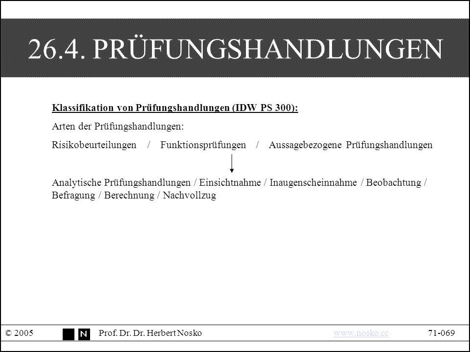 26.4. PRÜFUNGSHANDLUNGEN © 2005Prof. Dr. Dr.