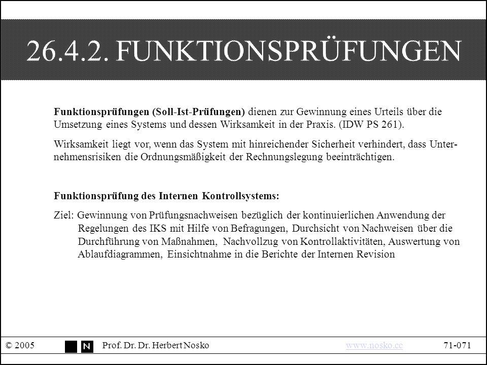 26.4.2. FUNKTIONSPRÜFUNGEN © 2005Prof. Dr. Dr.
