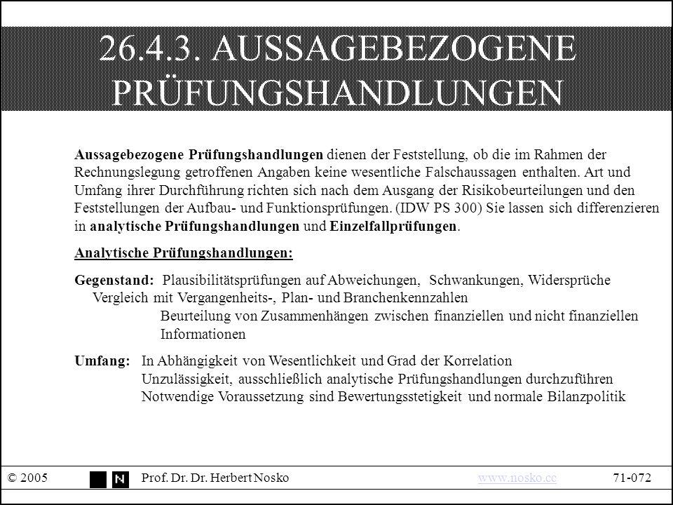26.4.3. AUSSAGEBEZOGENE PRÜFUNGSHANDLUNGEN © 2005Prof.