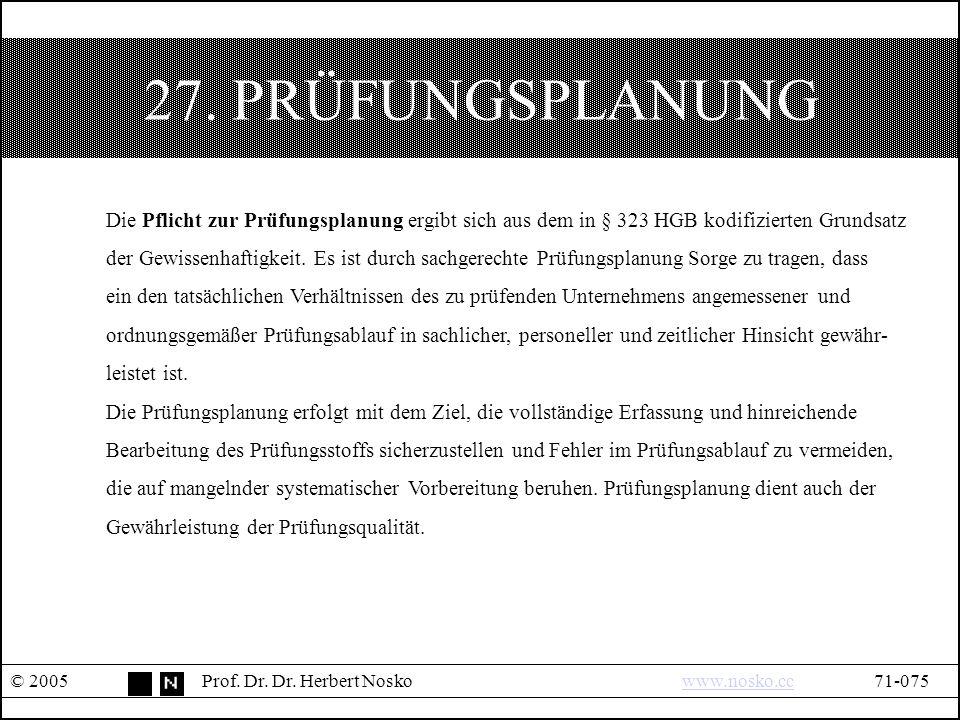 27. PRÜFUNGSPLANUNG © 2005Prof. Dr. Dr.