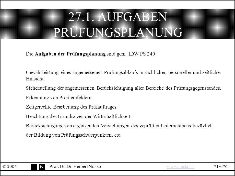 27.1. AUFGABEN PRÜFUNGSPLANUNG © 2005Prof. Dr. Dr.