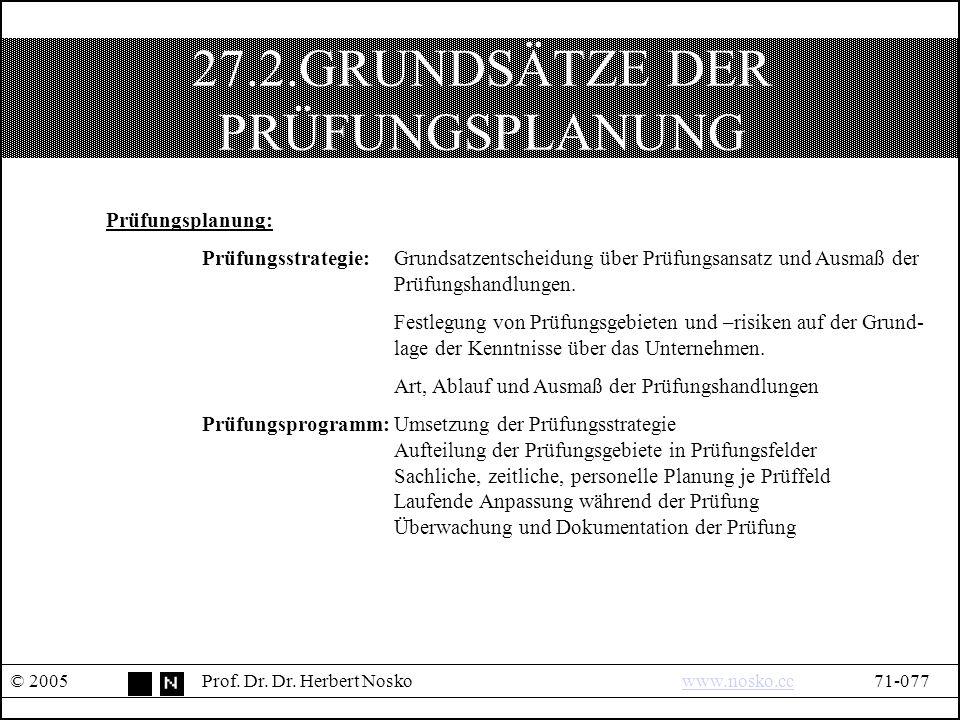 27.2.GRUNDSÄTZE DER PRÜFUNGSPLANUNG © 2005Prof. Dr.