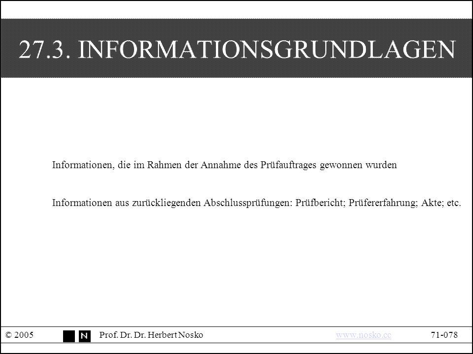 27.3. INFORMATIONSGRUNDLAGEN © 2005Prof. Dr. Dr.