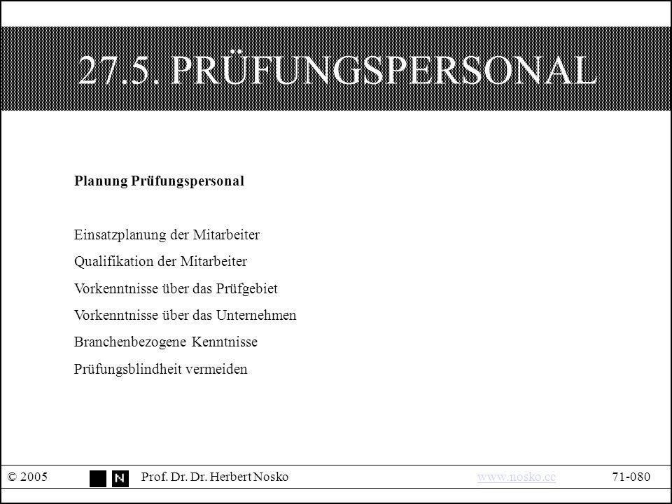 27.5. PRÜFUNGSPERSONAL © 2005Prof. Dr. Dr. Herbert Noskowww.nosko.cc71-080www.nosko.cc Planung Prüfungspersonal Einsatzplanung der Mitarbeiter Qualifi