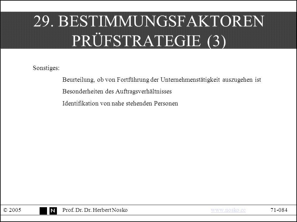 29. BESTIMMUNGSFAKTOREN PRÜFSTRATEGIE (3) © 2005Prof.