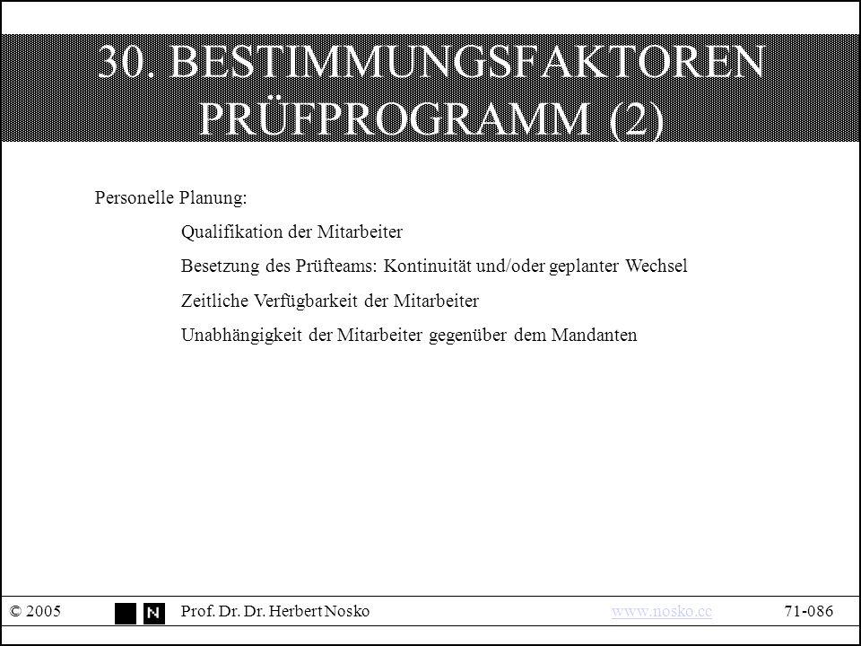 30. BESTIMMUNGSFAKTOREN PRÜFPROGRAMM (2) © 2005Prof.