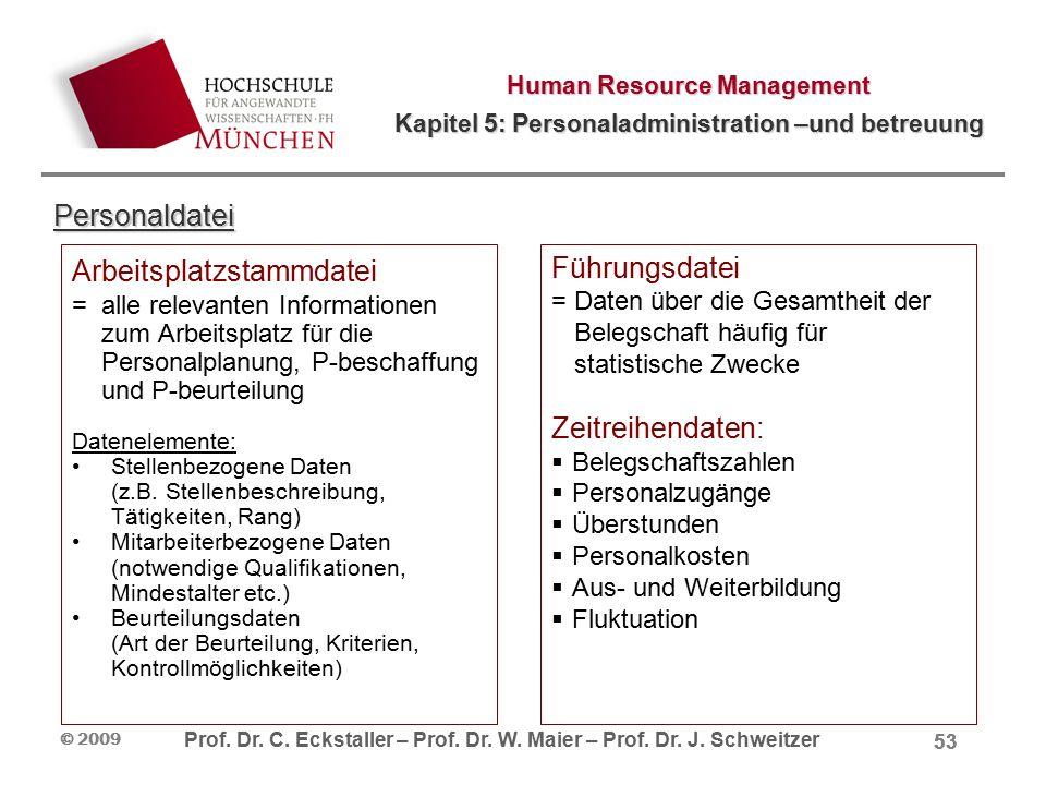 Human Resource Management Kapitel 5: Personaladministration –und betreuung Prof. Dr. C. Eckstaller – Prof. Dr. W. Maier – Prof. Dr. J. Schweitzer © 20
