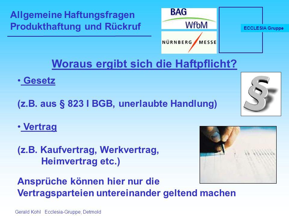 Allgemeine Haftungsfragen Produkthaftung und Rückruf ECCLESIA Gruppe Gerald Kohl Ecclesia-Gruppe, Detmold Woraus ergibt sich die Haftpflicht.