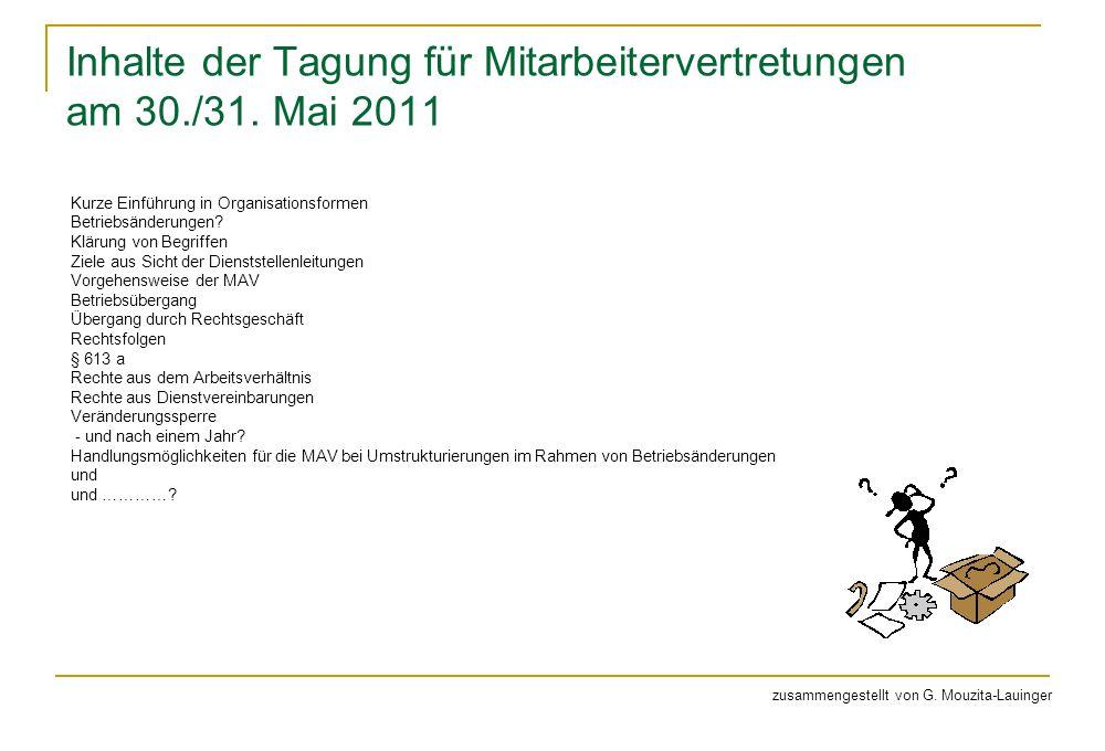 Inhalte der Tagung für Mitarbeitervertretungen am 30./31. Mai 2011 Kurze Einführung in Organisationsformen Betriebsänderungen? Klärung von Begriffen Z