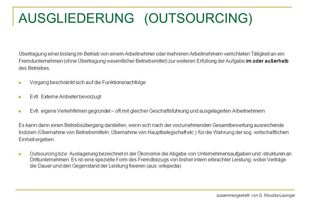 AUSGLIEDERUNG (OUTSOURCING) Übertragung einer bislang im Betrieb von einem Arbeitnehmer oder mehreren Arbeitnehmern verrichteten Tätigkeit an ein Frem