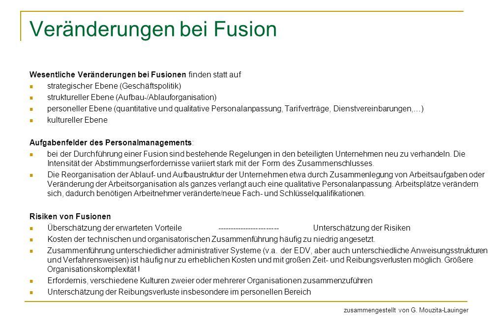 Veränderungen bei Fusion Wesentliche Veränderungen bei Fusionen finden statt auf strategischer Ebene (Geschäftspolitik) struktureller Ebene (Aufbau-/A